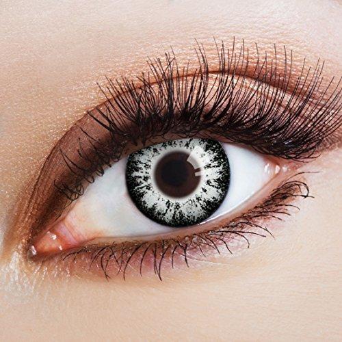 aricona Kontaktlinsen - Graue Kontaktlinsen ohne Stärke - Farbige Kontaktlinsen grau für Karneval, Cosplay, Manga, Motto-Partys, 2 Stück