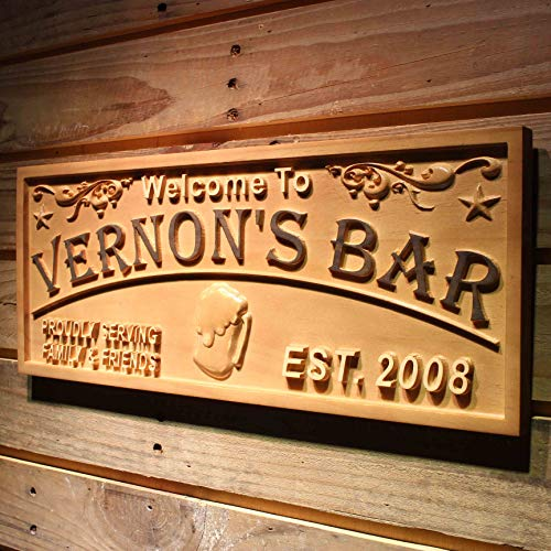 ADVPRO wpa0389 Name Personalized Home Bar Wood Engraved Wooden Sign - Standard 23 x 9.25