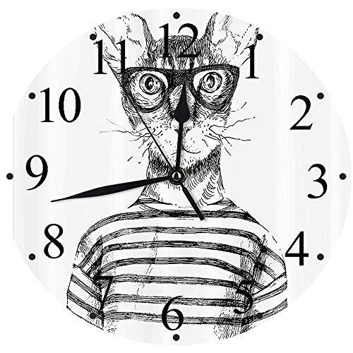 Yaoni Silencioso Wall Clock Decoración de hogar de Reloj de Redondo,Puesto de Gato, Hipster Vestido a Mano Hipster New Age Cat Fashion Urban Free Spirit Artwor,para Hogar, Sala de Estar, el Aula