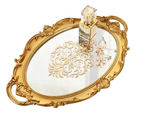 Simmer Stone Dekoratives Spiegeltablett, floraler Vanity Organizer für Make-up, Schmuck, Parfüm und Dekor, Vintage Oval Display und Serviertablett für Kommode, Theke und Couchtisch, Gold