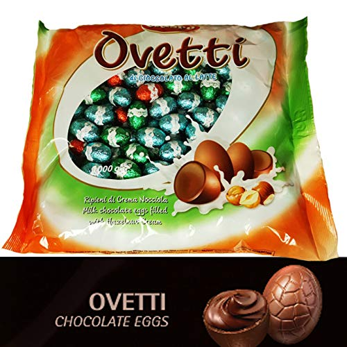 Huevos de chocolate con leche rellenos con crema de avellana bolsa 1kg