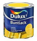 Dulux Buntlack Glänzend Wasserbasiert für Innen/Außen auf Holz, Metall und Kunststoff (0,5 Liter, Sommergelb)