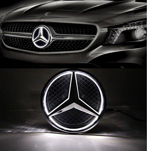 Cszlove Car Front Grilled Star Emblem LED Illuminated Logo Center Front Badge Lamp Light Works with Mercedes Benz 2013-2015 A B C E R GLK ML GL CLA CLS Class, White Light