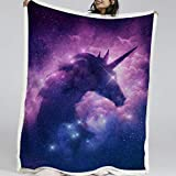 BlessLiving Unicorn Blanket Girls Boys Psychedelic Purple Galaxy Blanket Super Soft Throw Blanket for Bed Couch Sofa (Twin, 60 x 80 Inches)