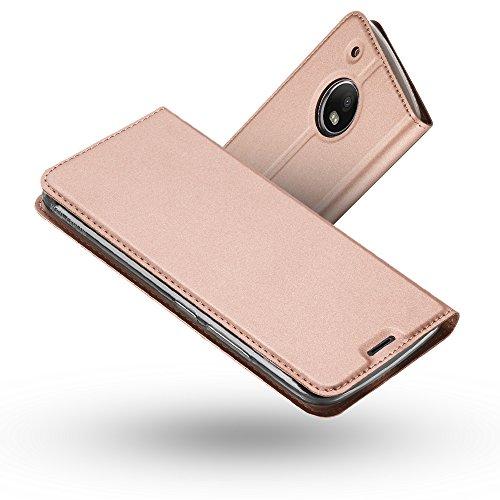 RADOO Moto G5 Lederhülle, Premium PU Leder Handyhülle Brieftasche-Stil Magnetisch Folio Flip Klapphülle Etui Brieftasche Hülle Schutzhülle Tasche Hülle Cover für Motorola Lenovo Moto G5 (Rose Gold)