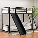 Metal Twin Over Twin Bunk Bed with Slide and Ladder, Twin Loft Bed with Safety Guard Rails for Kids Teens Adults/Easy to Assemble/No Box Spring Required (Black)