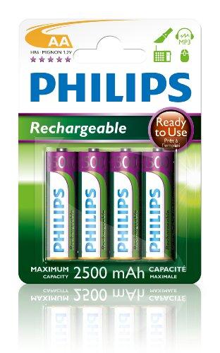 Philips R6B4RTU25/10 Rechargeable Akku AA (2500mAh, 1,2V, 4-er Blister)