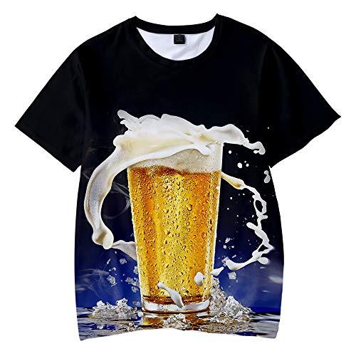 CPHGG 3D-Gedrucktes T-Shirt, Herren 3D-Druck Mode Bier Muster Top Persönlichkeit Unisex Casual Kurzarm Sommer Sport T-Shirt Tide