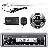 Kenwood MP3/USB/AUX Marine Boat Yacht Stereo Receiver - Bundle Combo with KCARC35MR Wired Remote Control, SiriusXM Radio Tuner, Enrock Outdoor Rubber Mast 45' Antenna