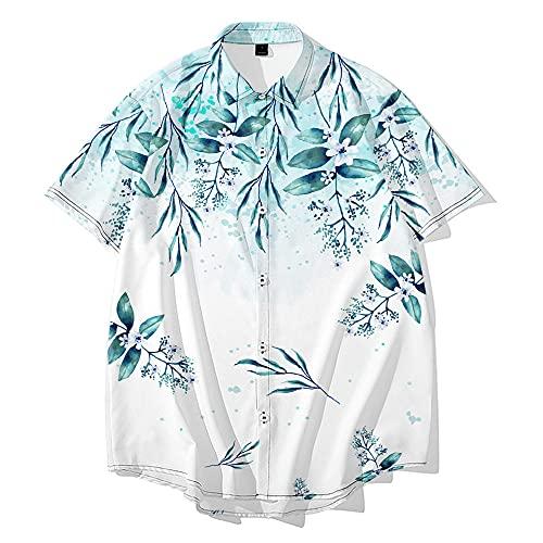 Camisa Hawaiana Hombre,Camisa Hawaiana con Botones Hawaianos De Manga Corta para Hombre, Camisetas con Estampado 3D De Flores Frescas A La Moda, Casual, De Secado Rápido, Manga Corta, Verano, Vacac