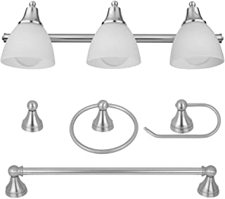 Globe Electric 51415 Camden 5-Piece All-In-One Bathroom Set, Brushed Steel