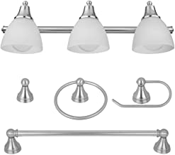 Globe Electric 50700 Exclusive Estoril Collection All-in-One 3-Light Vanity with Frosted Glass, Brushed Steel Finish, 5-Piece