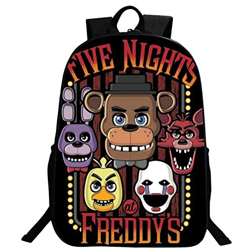 FNAF School Backpack Children's Five Nights Bear Large Trval Bags Backpack 15 * 11 * 5 inch School Bag for Girls Boys