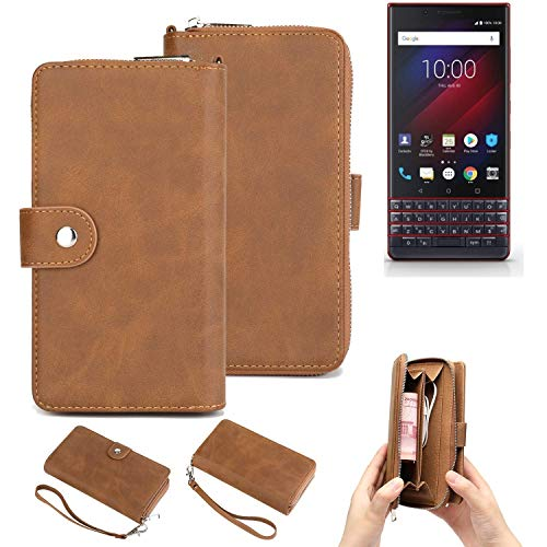 K-S-Trade Handy-Schutz-Hülle Für BlackBerry Key 2 LE Dual-SIM Portemonnee Tasche Wallet-Hülle Bookstyle-Etui Braun (1x)