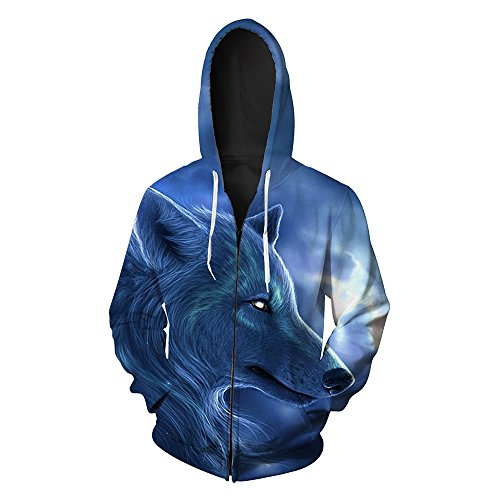 Men's Hooded 3D Digital Print Sharp Wolf Pattern Zip-up Sports Outwear Cardigan Hoodies(2XL, Blue)