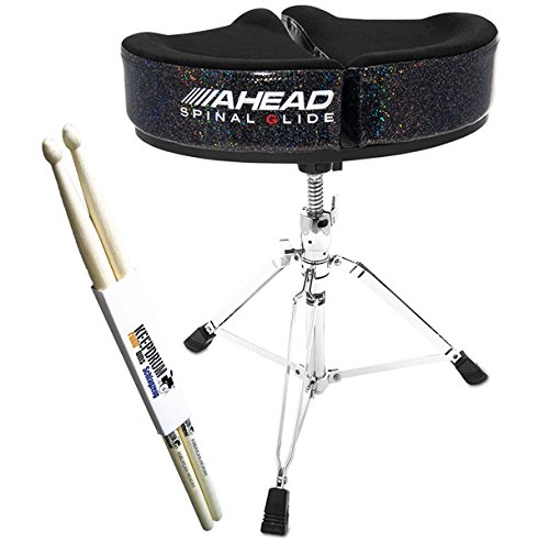 Ahead SPG-BS-3 Spinal Glide Drum-Hocker Black Sparkle Rücken-schonend Sattelsitz + keepdrum Drumsticks