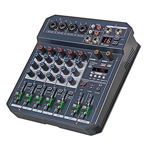 JUSTGJS Placa mezcladora de Sonido, Consola de DJ de Mezclador de Audio portátil de 4/6 Canales con Tarjeta de Sonido con Efecto DSP, Bluetooth, USB, para transmisión en Vivo, grabación y Juegos