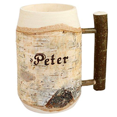Holz Bierkrug mit Gravur - personalisiert mit Name - ca 0,5L - individuelles Geschenk, Holzkrug Unikat - Geschenkidee für Bierfreunde, Sammlerstück, bayerische Souvenirs, deutsche Geschenke
