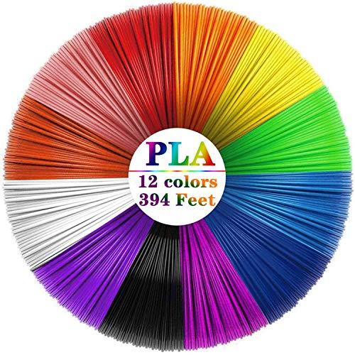 Filamento de pluma 3D PLA, 12 colores 1,75 mm 33 pies por color total 394 pies 3D impresora filamento 3D impresión pluma filamento para la mayoría de la pluma 3D inteligente