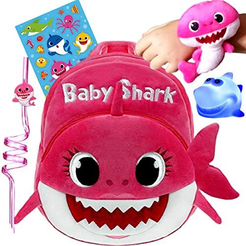 Q&M Novelties Baby Shark Backpack Gift Set Bundle (5 Pack), Kids Baby Shark Toys Plush Toddler Play Set, Pink- Mommy Shark