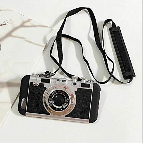 OHYONIZ Funda para teléfono 3D Cámara Vintage para iPhone 6 7 8 11 X XS MAX, diseño de cámara Lindo, Funda de Silicona para teléfono con Cuerda de Correa Larga  (For iPhoneX/XS)