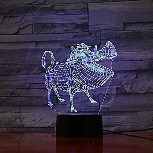 Lampe de table chambre décor 3D Led Illusion tactile capteur enfant enfant cadeau décoration dessin animé le roi lion veilleuse