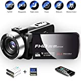 Video Camera Camcorder with IR Night Vision HD 1080P Digital Camera 24.0Mega Pixels 16X Digital Zoom 3.0'' LCD 270 Degree Zo for Selfie Pause Function (Two Batteries and 32GB SD Card Included) (Black