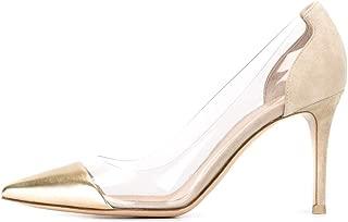 Women's Cap Toe Pumps 85mm High Heel Transparent Shoes Stiletto Dress Pumps