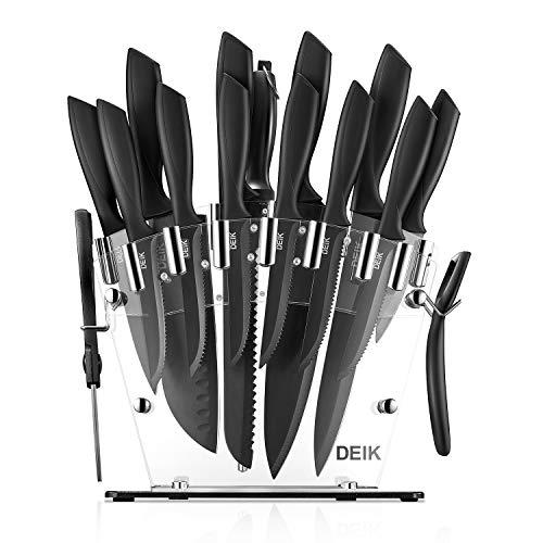 DEIK Messerblock Set | Messerset | Profi Kochmesser mit Präzisionsklingen | rostfreier Edelstahl | ergonomische Griffe | inkl. Küchenschere und Wetzstahl Stange | Acrylstand | 16-TLG