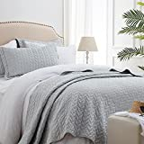 SunStyle Home Quilt Set Twin Light Grey Lightweight Bedspread Soft Reversible Coverlet for All Season 2pcs Leaf Embroidered Quilted Bedding Sets (1 Quilt 1 Pillow Sham)(68'x86')