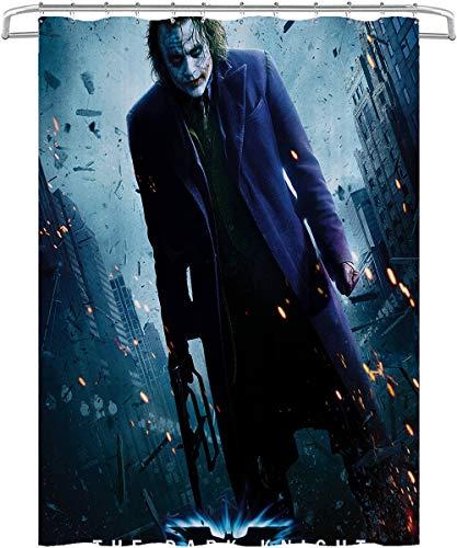 Visionpz Wasserdichter Duschvorhang Batman: The Dark Knight Joker Wasserfester, schnell trocknender Badewannenvorhang aus Polyestergewebe Waschbarer Badevorhang mit 12 Haken 180x200cm