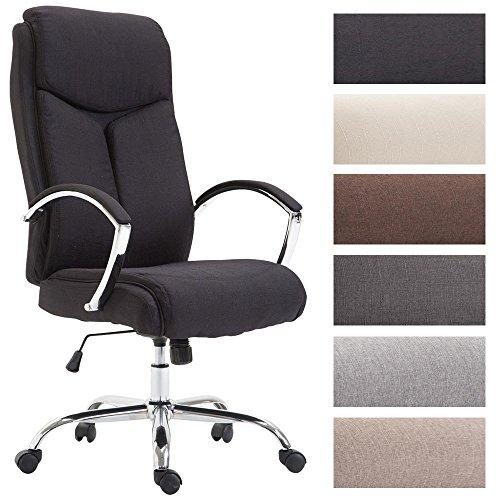 CLP Bürostuhl XL Vaud mit Stoffbezug, Chefsessel, Drehstuhl mit Armlehnen, Bürodrehstuhl mit hochwertige Polsterung, max. Belastbarkeit 140 kg, Schwarz