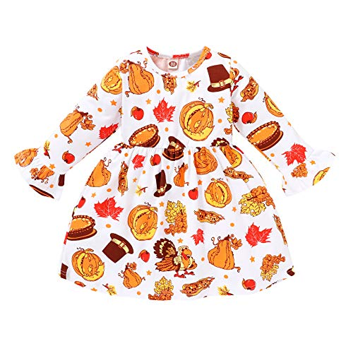 YOUNGER STAR Toddler Infant Baby Girl Thanksgiving Dress Turkey Ruffle Flare Half Sleeve Skirt Party Dresses Clothes (White, 2-3 T)