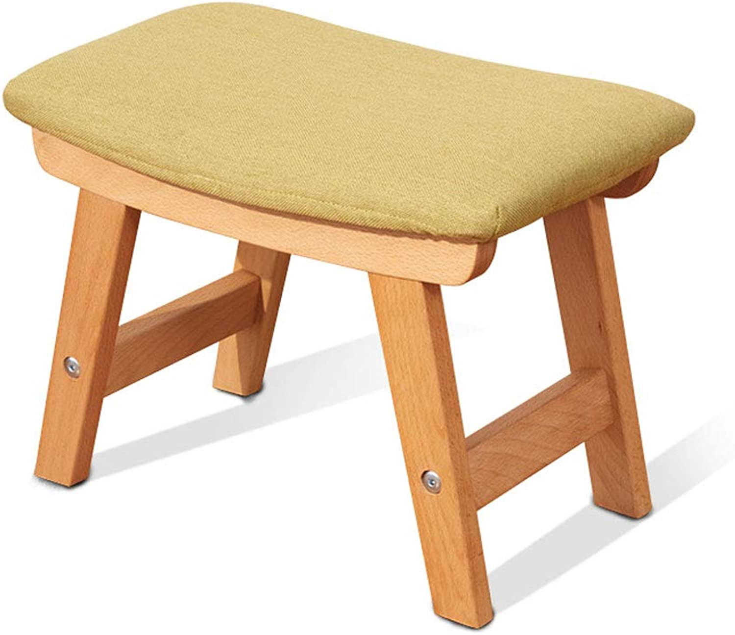 Solid Wood Stool, Beech Living Room Home Small Bench Change Wear shoes Short Stool Comfortable Fabric Sofa Stool (color   Green)