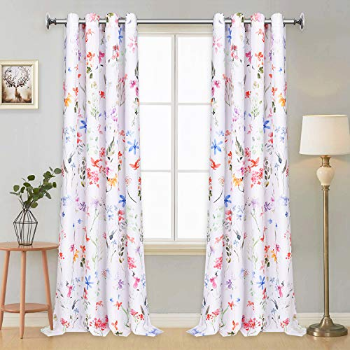 VERTKREA Floral Window Curtain Panels Watercolor Flower Pattern Drapes 84 x 52 Inches Window Curtain Set for Living Room Bedroom Bathroom, 2 Panels Grommet Drapes