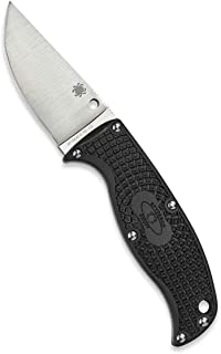 Spyderco Enuff Clip Point Lightweight Fixed Blade Knife - Black FRN Handle with PlainEdge, Full-Flat Grind, VG-10 Steel Blade - FB31CPBK