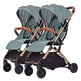 WRJY Cochecito Gemelo Desmontable, Carrito Doble para bebé, Carro portátil Plegable Ligero para niños Marco de Carro Dorado de Aluminio (Color: C)
