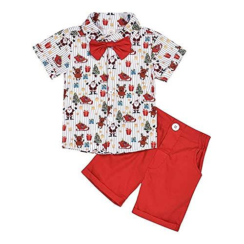 nanxing Ropa de Navidad de manga corta con estampado de ciervos de Papá Noel con pajarita, camiseta y pantalones cortos de color sólido