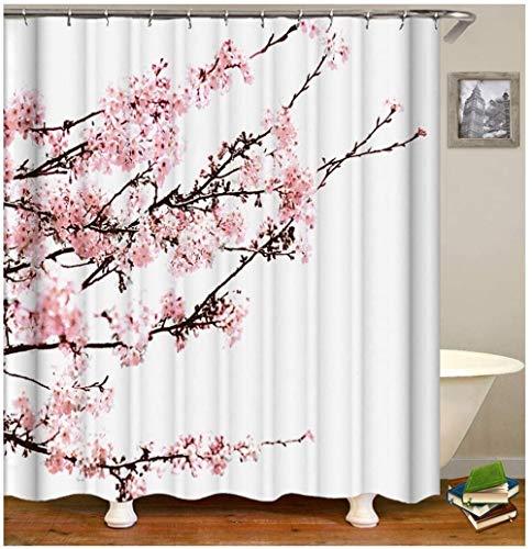 QAZX Polyester Duschvorhang Pflaume Blühen Design Badewanne Vorhang Rose Weiß für Badewanne Waschbar 180x180cm