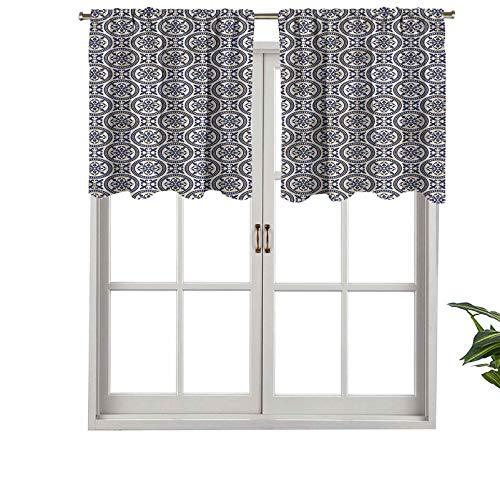 Hiiiman Cortina con aislamiento térmico para decoración del hogar con barra de bolsillo ovalada, modelo antiguo oriental, juego de 1, 137 x 45 cm para ventana de sótano