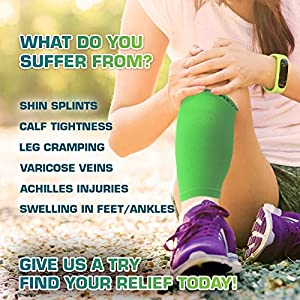 Calf Compression Sleeve - Leg Compression Socks for Shin Splint, Calf Pain Relief - Men, Women, and Runners - Calf Guard for Running, Cycling, Maternity, Travel, Nurses (Neon Green, Small)