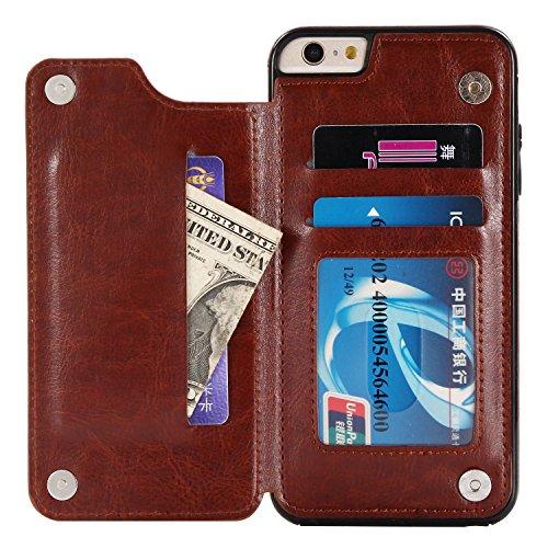 ZCXG Kompatibel Mit Handyhülle iPhone 6S Plus Hülle Leder,iPhone 6 Plus Hülle Silikon,Schutzhülle Leder Tasche mit Kartenfach Ständer Funktion Brieftasche Flip Cover - Braun