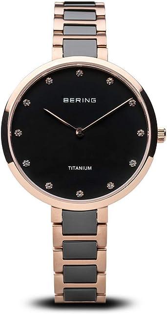 BERING Reloj Analógico Titanium Collection para Mujer de Cuarzo con Correa en Titanio/Cerámica y Cristal de Zafiro 11334-762