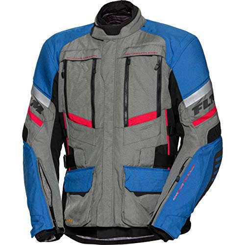 FLM Motorradjacke mit Protektoren Motorrad Jacke Reise Textiljacke 2.0 grau/blau 4XL, Herren, Enduro/Reiseenduro, Ganzjährig