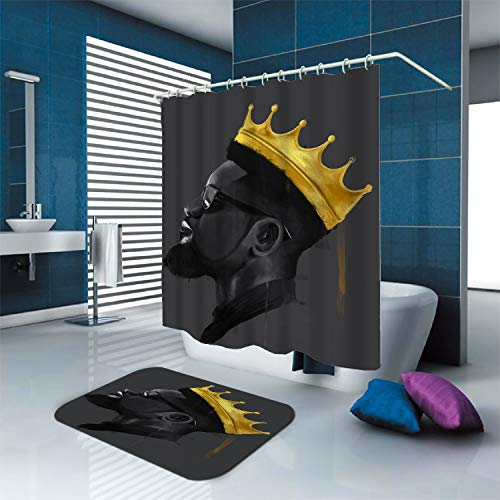SARA NELL Black Art Shower Curtains with Hooks and Bath Rug Mat Black King African African King with Crown Cool Afro Man Bath Curtain Waterproof Polyester Fabric Bathroom Decor Set-72x72/23.6x15.7