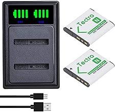 Tectra 2Pcs NP-BN1 NP-BN1 Battery and LED Dual Charger for Sony Cyber-Shot DSC-QX10 DSC-QX30 DSC-QX100 DSC-TF1 DSC-TX10 DSC-TX20 DSC-TX30 DSC-W530 DSC-W570 DSC-W650 DSC-WX220