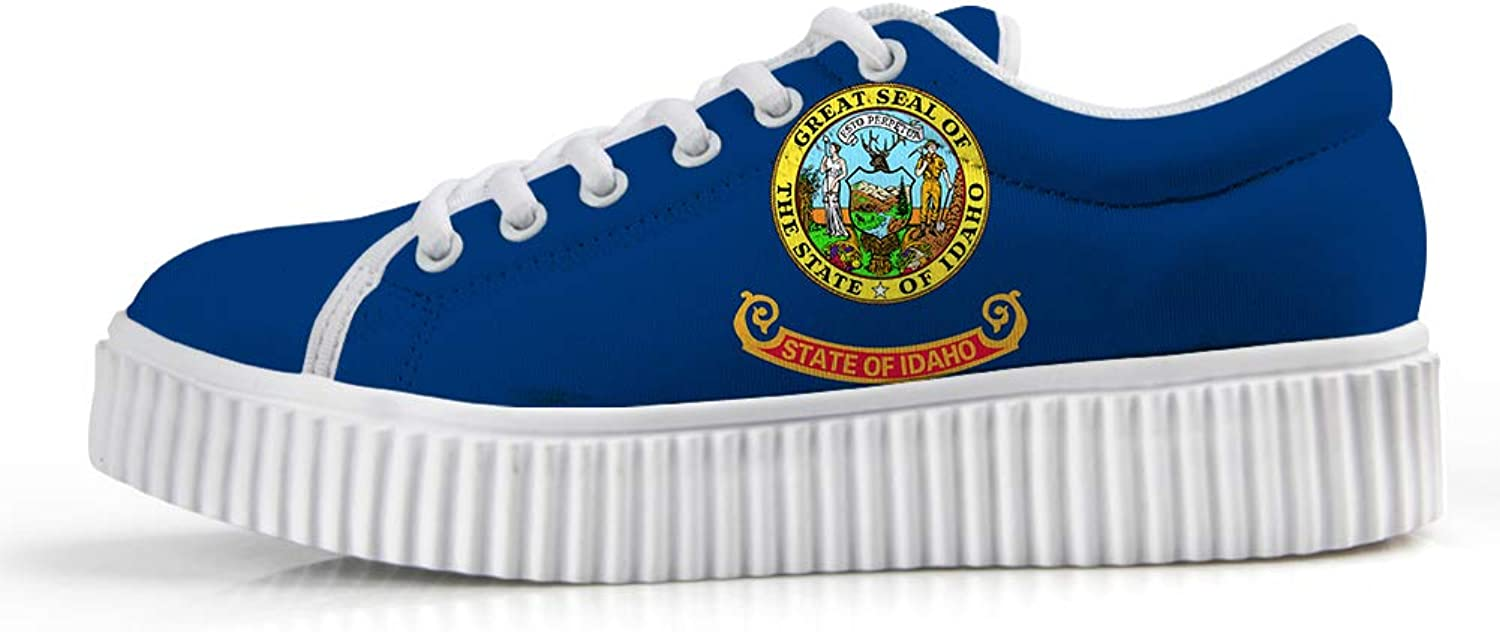 Owaheson Platform Lace up Sneaker Casual Chunky Walking shoes Low Top Women Gem State Idaho Flag