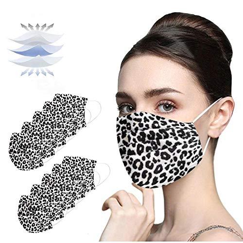 Jasinto 3 Schichten Baumwolle Mundschutz für Damen Herren, Anti-Staub Plissee Elastische Schlauchtuch Nasenschutz für Radfahren, Laufen, Schwarz Nasen und Lippen Schutz, 10er Pack, Schwarzer Leopard