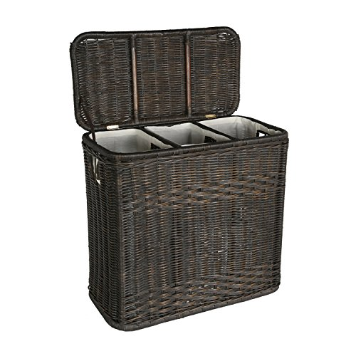 The Basket Lady 3-Compartment Wicker Laundry Sorter Hamper, 30 in L x 15 in W x 28 in H, Antique Walnut Brown