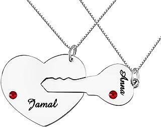 Collar personalizado de la llave de mi corazón con piedra de nacimiento para parejas, collar de rompecabezas en plata con ...